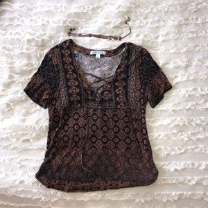Patterned black and copper lace up shirt
